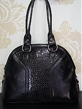 Kabelky - Elegantná čierna, kroko kabelka Saša - 1207011