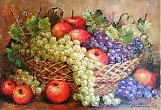 Obrazy - zátišie - košík s ovocím - 1209576