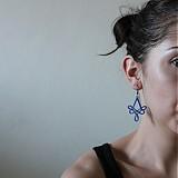 Náušnice - Modré ornamenty - 1229728