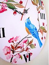 Hodiny - Sakura bird - ružové hodiny s vtáčikom na čerešňovom konáriku - 1237869