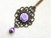 Náhrdelníky - purple rose - 1245699