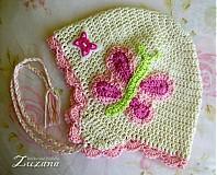 Detské čiapky - Prechodná motýliková čiapočka - 1273648