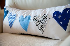 Úžitkový textil - Srdcia na snurke - Modré - 1302081