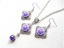 Sady šperkov - fialové ruže - 1309327
