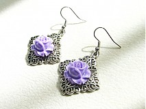 Náušnice - fialové ruže - 1309353