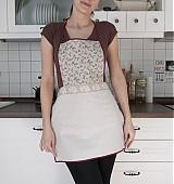 - Tradičná ľanová kuchynská zástera - hnedé kvietky (001) - 1310118