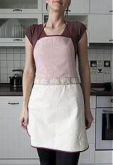 - Kuchynská zástera - jemný pásik vínovej farby (006) - 1310245