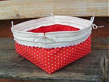 Košíky - Košík červeno-biela bodka - 1312572
