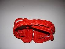 Náramky - náramok,červený,koža , v ZĽAVE! - 1349597