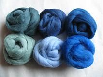 Textil - Merino vlna na plstenie - modrozelienkavá 60 g - 1366406