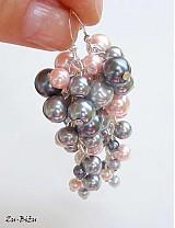 Náušnice - Sivo-ružové perličky - 1407656