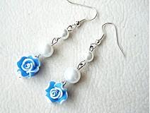 Náušnice - blue rose - 1411749
