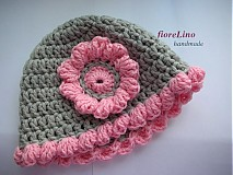 Detské čiapky - detská čiapka s kvetinkou - 1446000