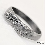 Prstene - Damasteel zásnubný prsteň s broušeným diamantom 1,5mm - Prolili - 1464172