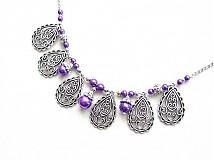 Náhrdelníky - filigránová lady vo fialovom - 1486988