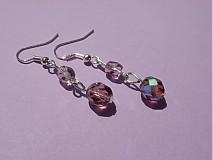 Náušnice - Nežné fialky v striebre - 1503146