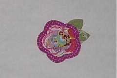 Materiál ručne robený - kvetinka s listočkom ( aplikácia) - 1503214