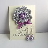 Sady šperkov - Ľadová kvetinka violet s náušničkami - 1506296
