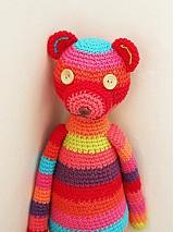 Hračky - Háčkovaný medvedík do červena - 1509337