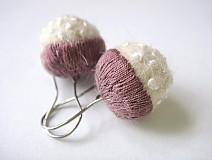 Náušnice - Plstené náušnice - malé fialové polobodky - 1519316