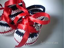 Topánočky - Háčkované tenisky ... malá námorníčka ... - 1530314