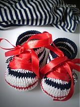 Topánočky - Háčkované tenisky ... malá námorníčka ... - 1530315