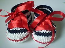 Topánočky - Háčkované tenisky ... malá námorníčka ... - 1530317