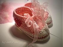 Topánočky - Háčkované tenisky ... sladké srdiečkové ... - 1531289