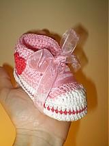Topánočky - Háčkované tenisky ... sladké srdiečkové ... - 1531290