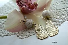 Náušnice - White butterfly - 1546117