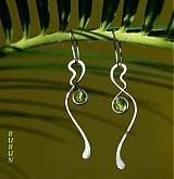 Náušnice - Stékané v zelenej - 1548246