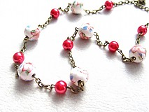 Náhrdelníky - červený romantický sad - 1550489