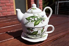 Čajník so šálkou malý - konvalinky