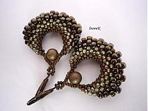 Náušnice - Taštička bronzovo-hnedá - 1594866