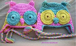 Detské čiapky - detská čiapka - sovičky pre dvojičky - 1624635
