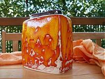 Dekorácie - Váza oranžová hranatá malá - 1648926