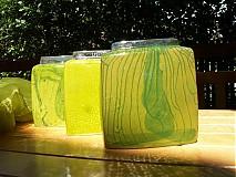 Dekorácie - Váza zelená, hranatá . - 1650848
