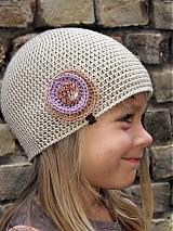 Detské čiapky - bežová malá  - 1678886