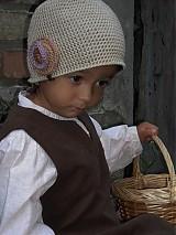 Detské čiapky - bežová malá  - 1679312