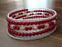 Náramky - Náramok červeno-biely - 1690559