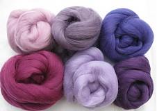 Textil - Merino vlna - sada 60 g fialky - 1691422