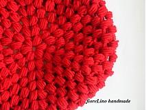 Čiapky - čiapka - červená guličková - 1698674