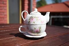 Čajník so šálkou malý - ružové kvietky
