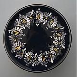 Nádoby - Tác, podnos, talíř kopretiny 22 černý - 1742209