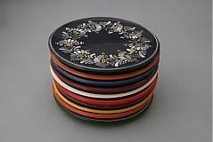 Nádoby - Tác, podnos, talíř kopretiny 22 černý - 1742211