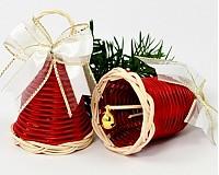 - Vianočný zvonček z pedigu 6 cm - červený s bielo-zlatou mašl - 1778247