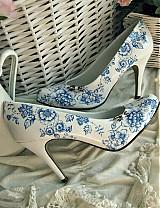 Obuv - Rozkvitli v modrom topánky - 1782074
