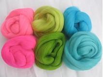 Textil - Vlna na plstenie Merino - sada Neón - 1793402