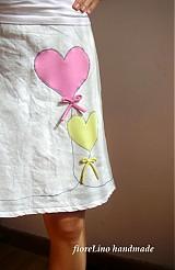 Sukne - letná plátenná sukňa - so srdiečkami - 1810347