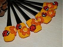 Pomôcky - Lyžička s lienkou a kvetinkou - 1810490